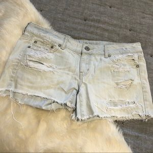 American eagle light wash cutoff distressed shorts